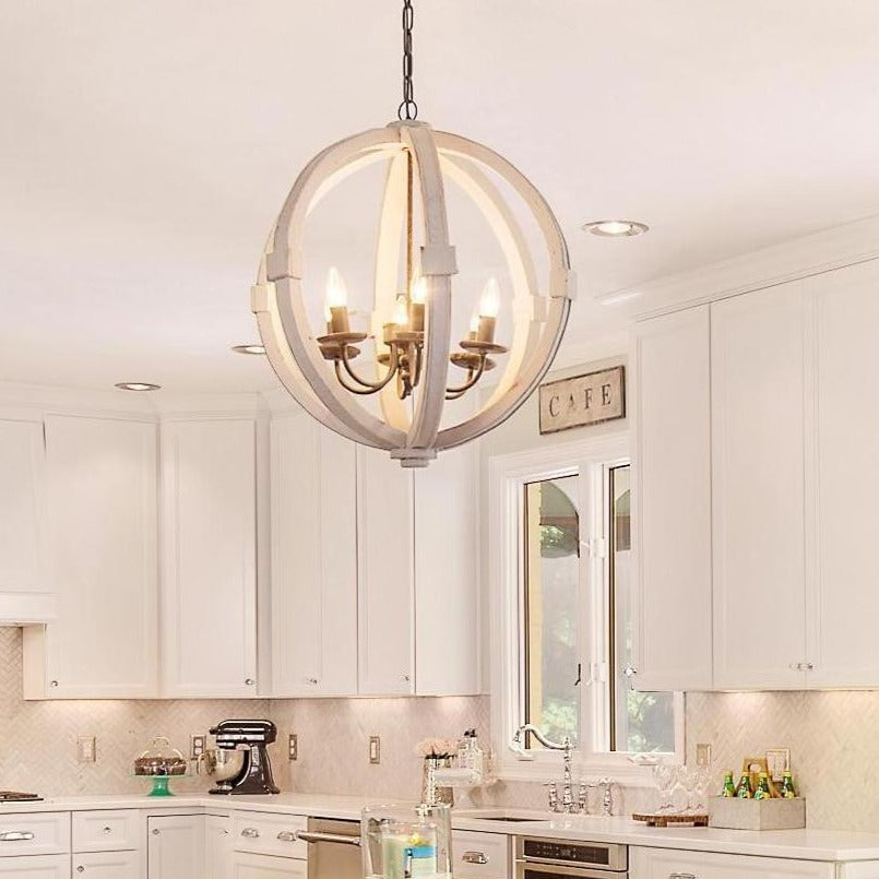 Antiqued White Painted Distressed Wood Orb Chandelier