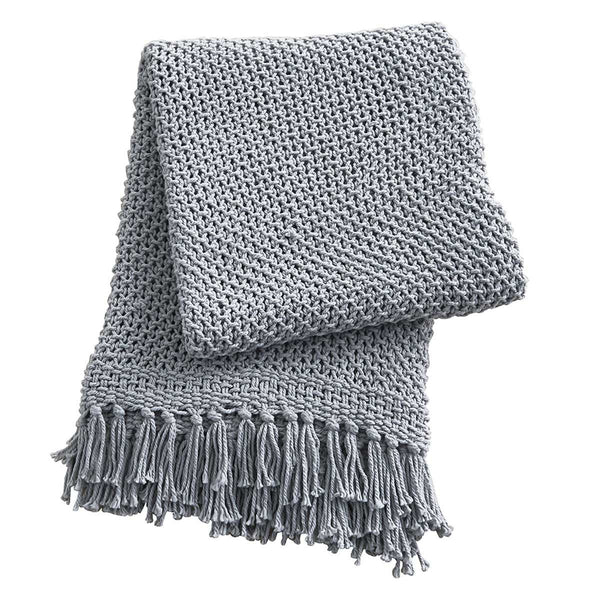 Open Weave Knit Throw, Blue