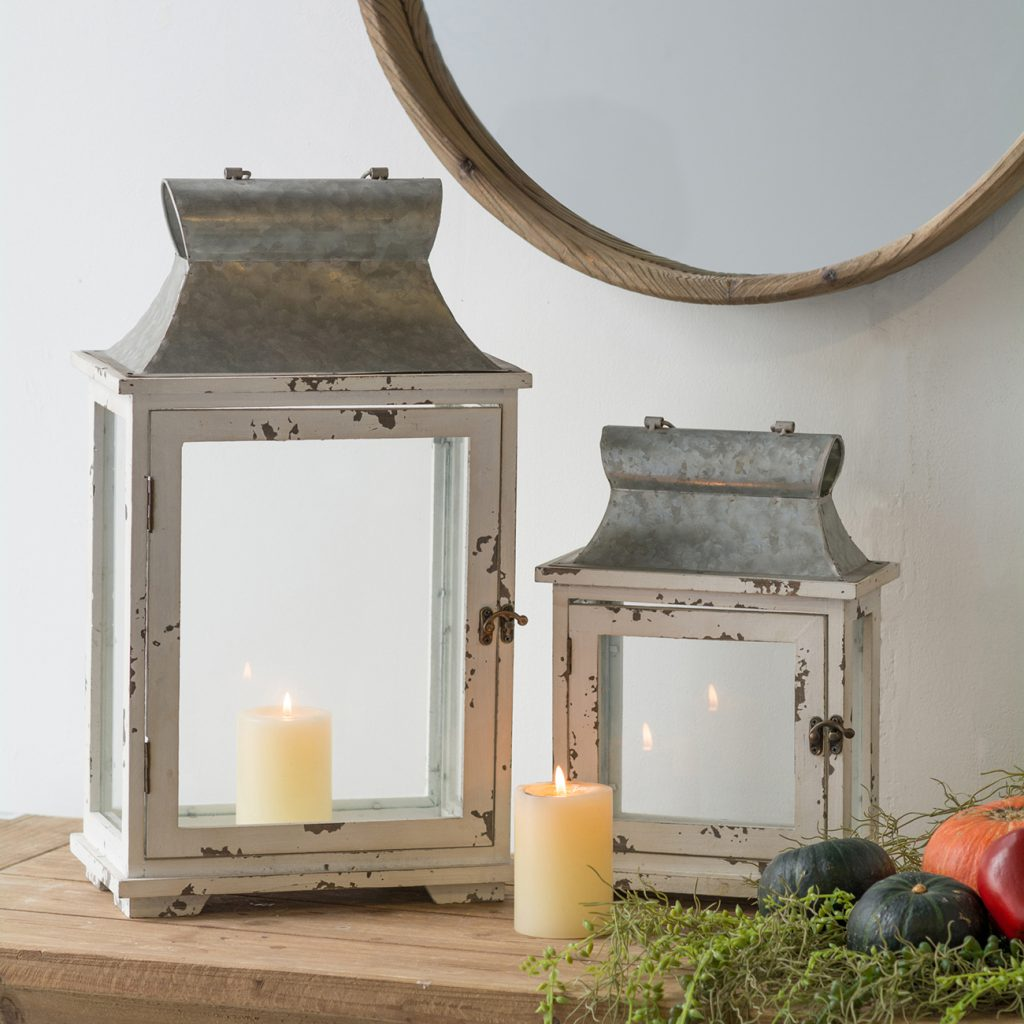 Narrow Distressed Wood & Metal Lantern Set