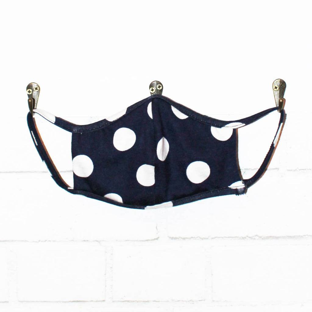 Navy Polka Dot Mask LOCAL ONLY