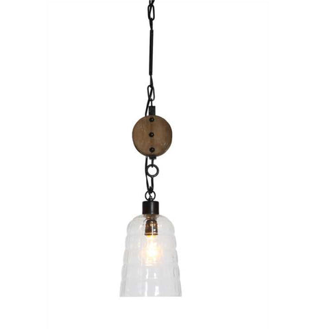 Pendant Pulley Wood Glass