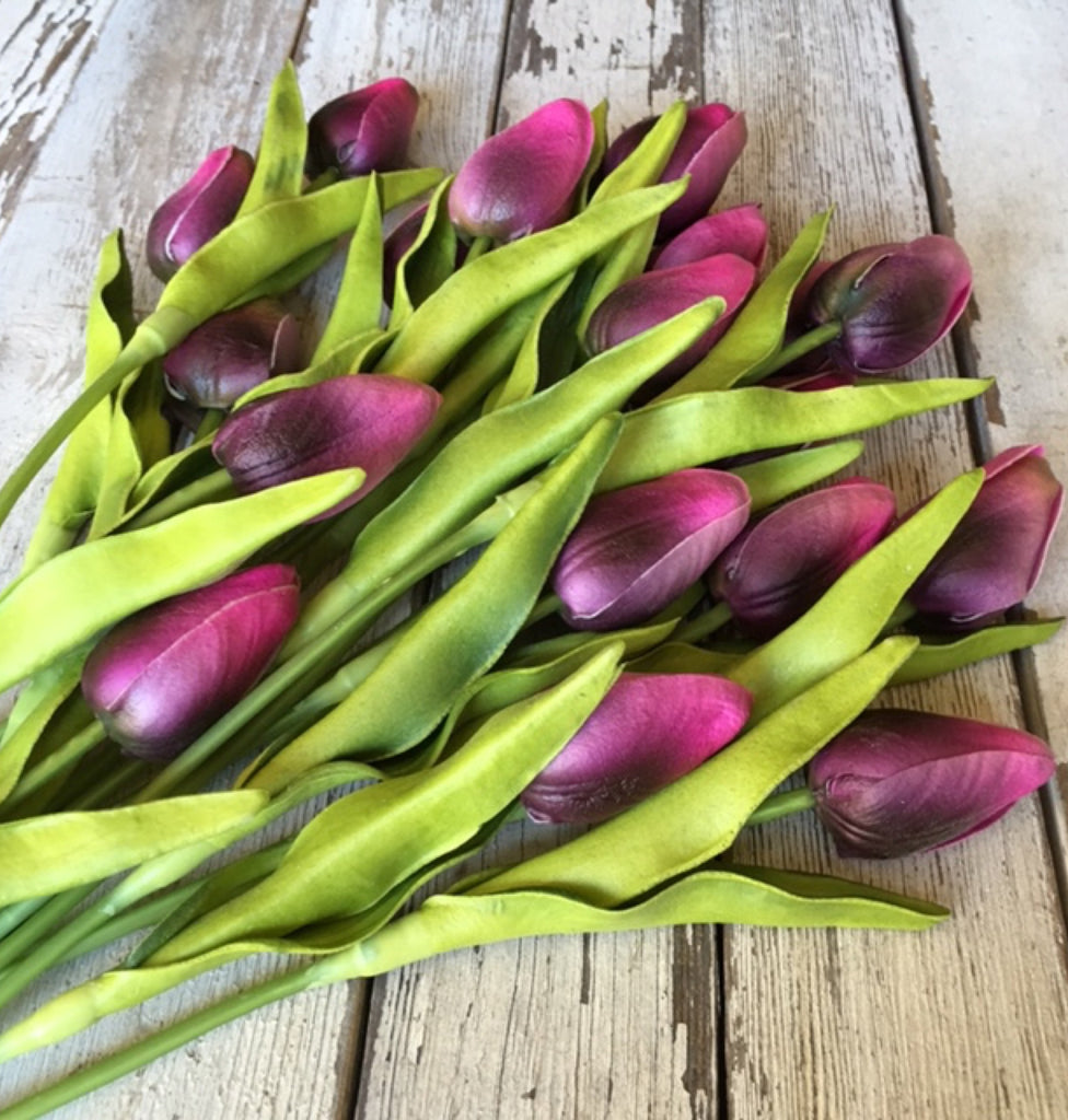 Purple Real Touch Tulips, Set of Three Stems