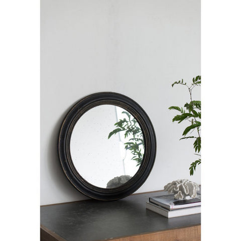 Antiqued Black Round Mirror