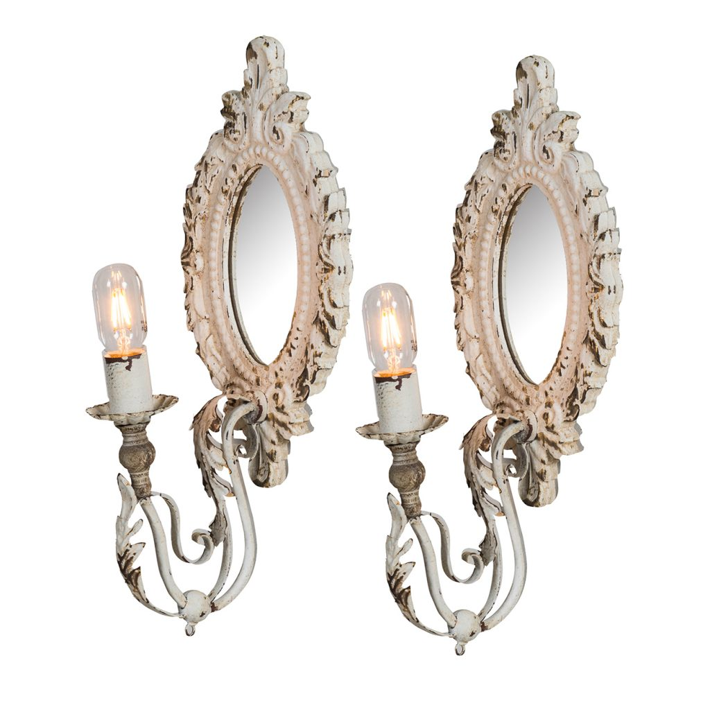 Antiqued White Wall Sconce Set for $ 199.00