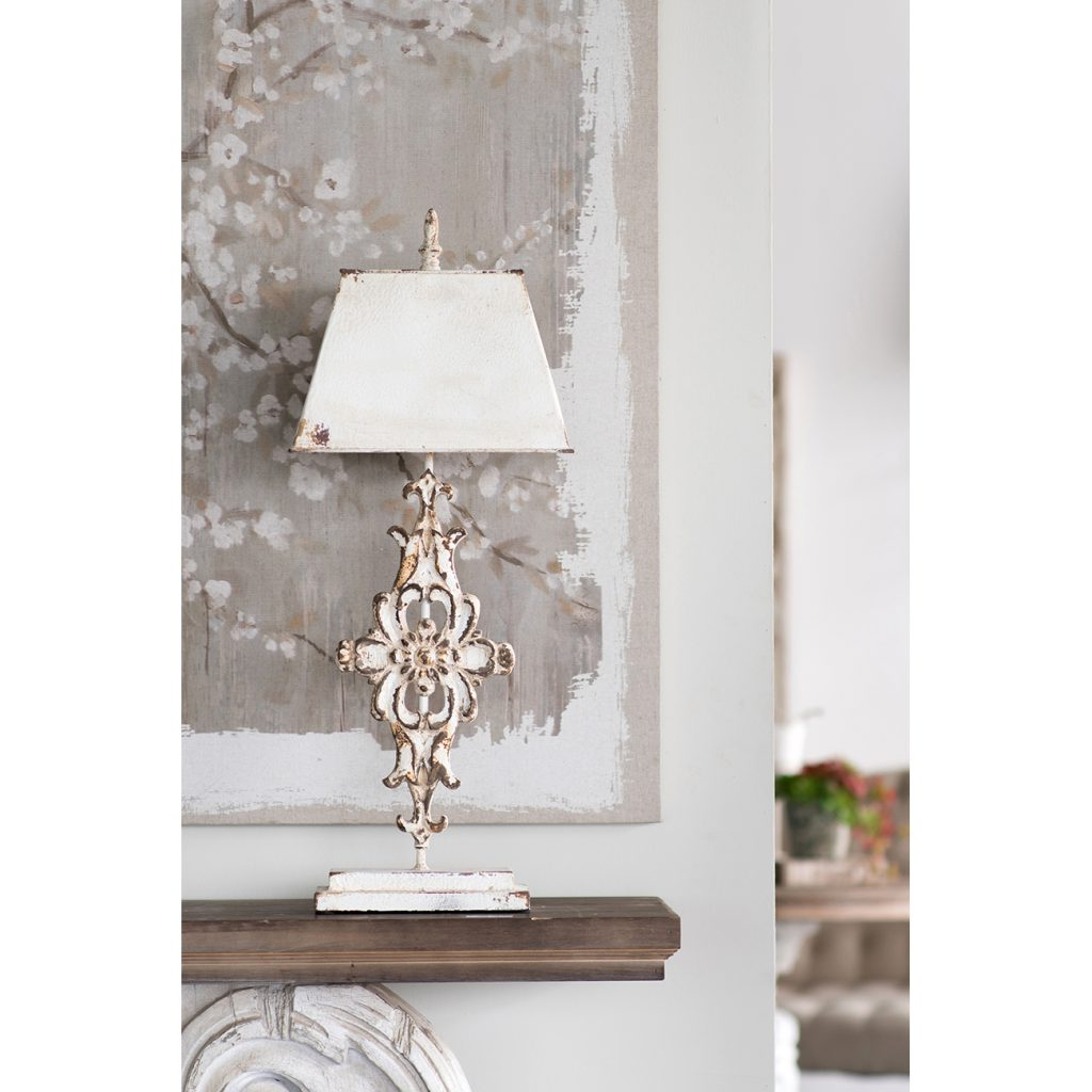Whitewashed Iron & Wood Lamp