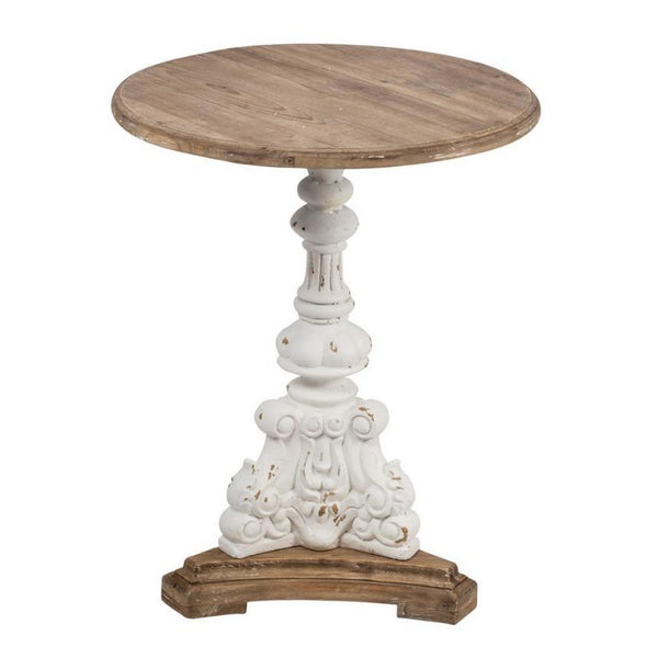 Antiqued White Side Table
