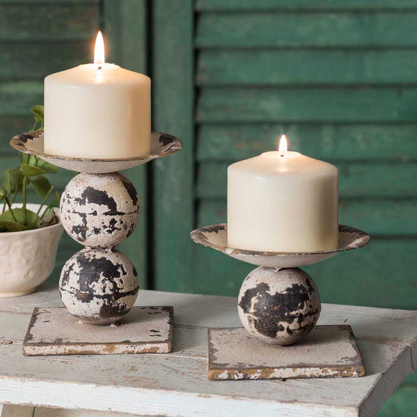 Rustic Metal Pillar Candle Holders, Set of 2