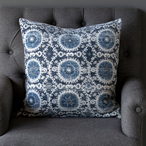 Suzani Printed Cotton Pillow, Blue