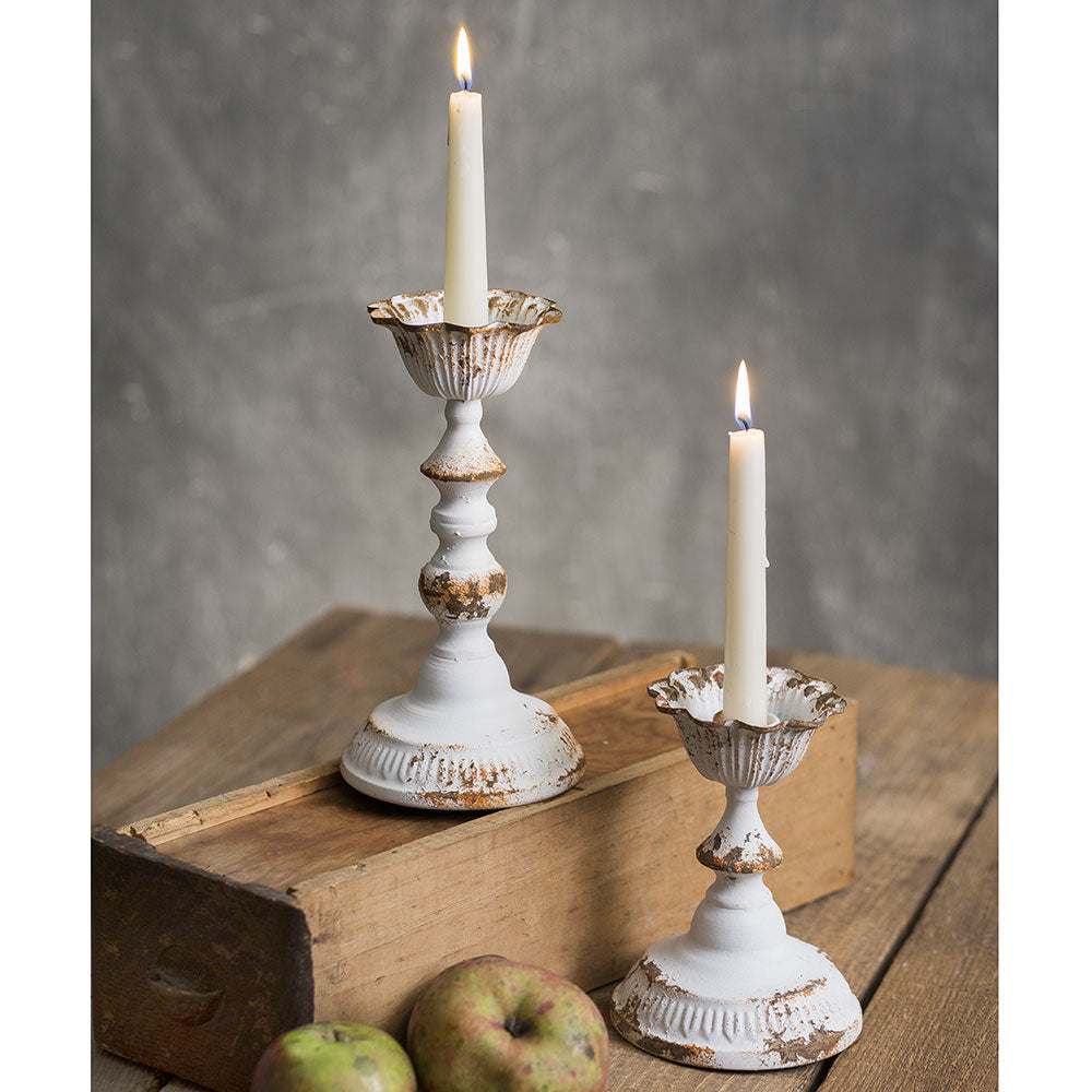 Distressed White Metal Taper Candle Holders, Set of 2