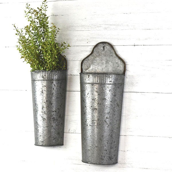 Metal Wall Vases, Set of 2
