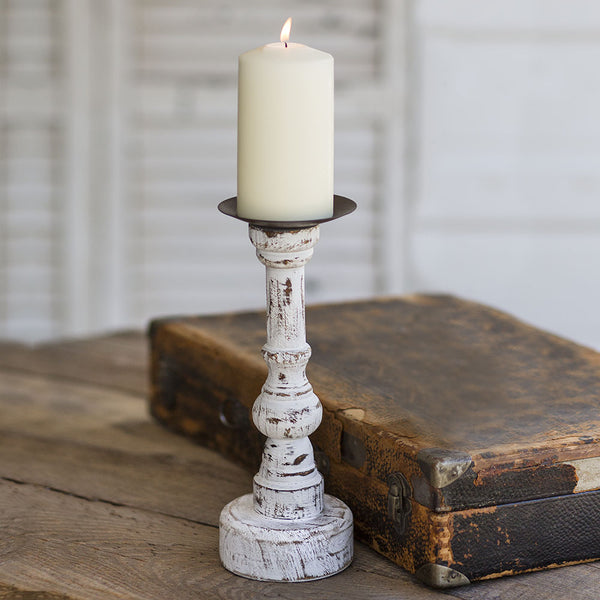 Distressed White Wood Pillar Candle Holder, Round