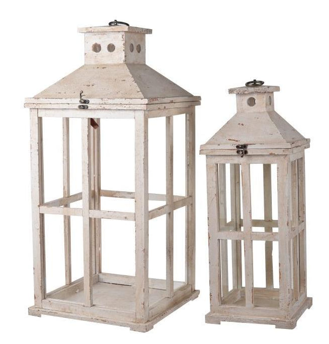 Weathered White Lantern Set