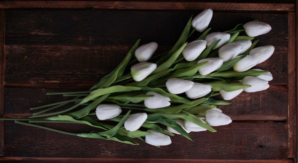 White Real Touch Tulips, Set of Three Stems