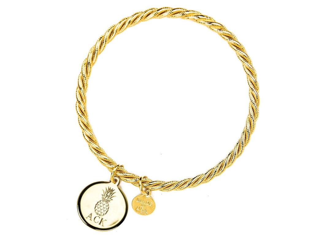 Gold Monogram Bangle - Kiel James Patrick Anchor Bracelet Made in the USA