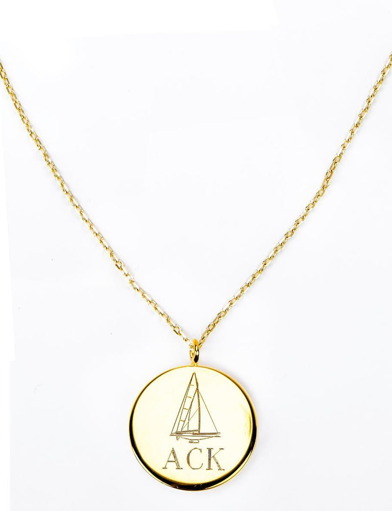 Gold Monogram Pendant - Kiel James Patrick Anchor Bracelet Made in the USA
