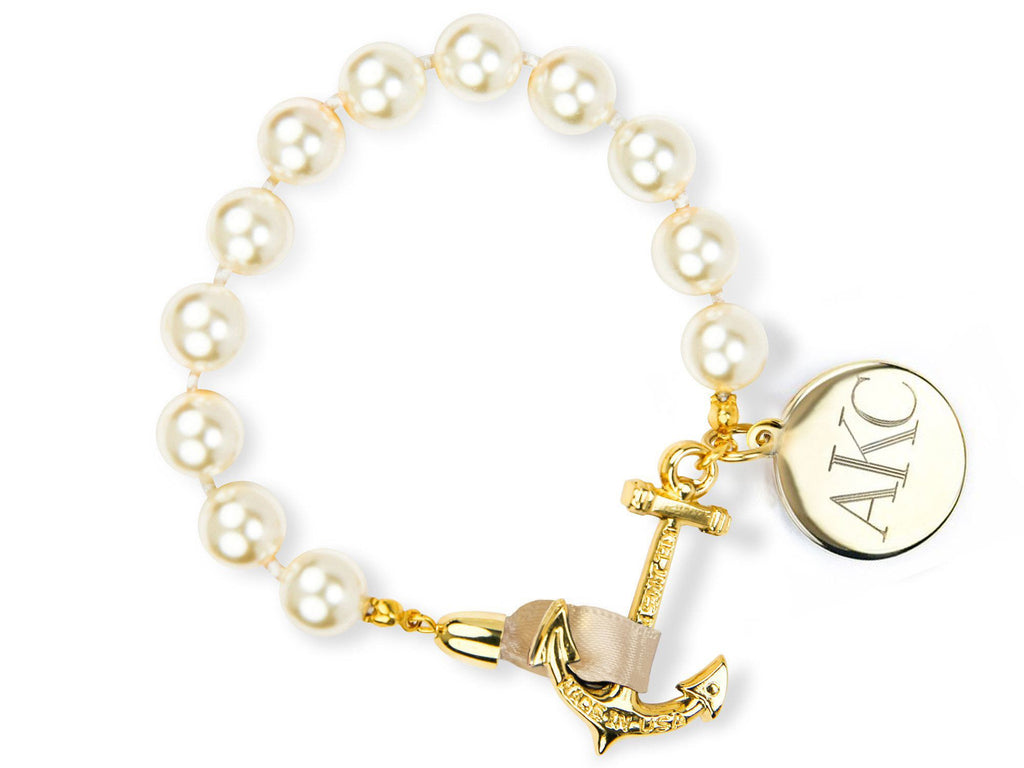 Pearls on Champagne Monogram