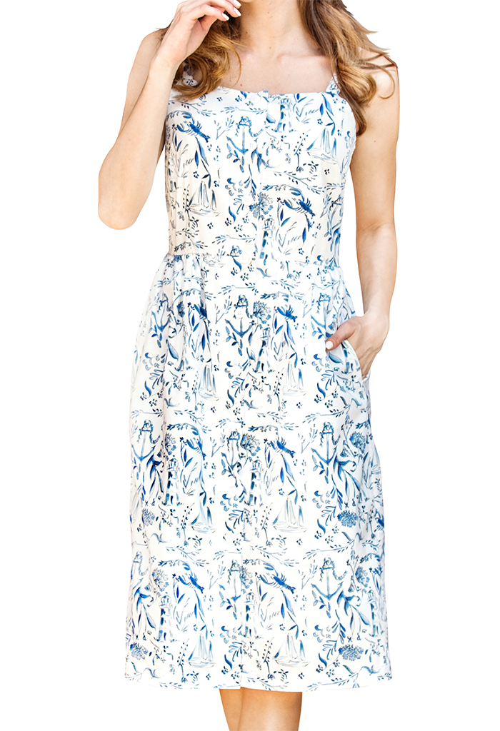 Nautical Chinoiserie Midi Dress