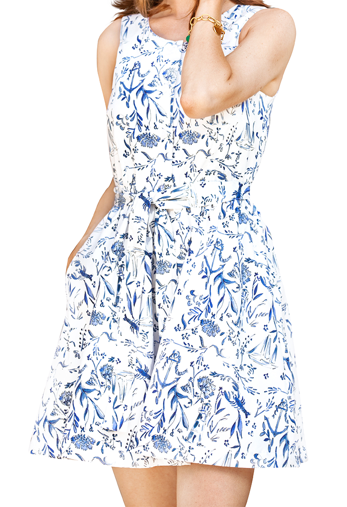 Nautical Chinoiserie Mini Dress