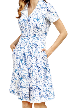 Nautical Chinoiserie Shirtdress