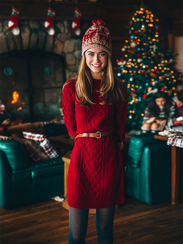 Cranberry Knit Sweater Dress