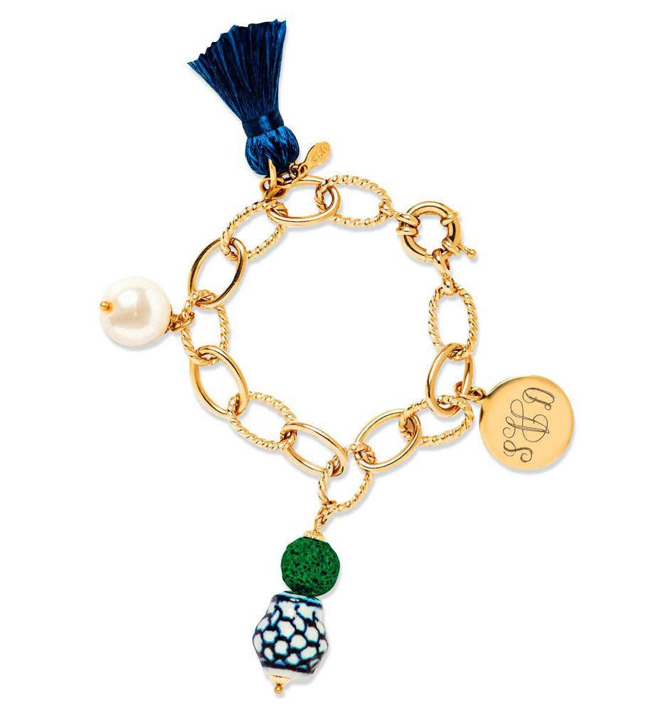 Ginger Jar Topiary Personalized Charm Bracelet - Kiel James Patrick Anchor Bracelet Made in the USA