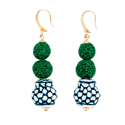 Ginger Jar Topiary Earrings - Kiel James Patrick Anchor Bracelet Made in the USA