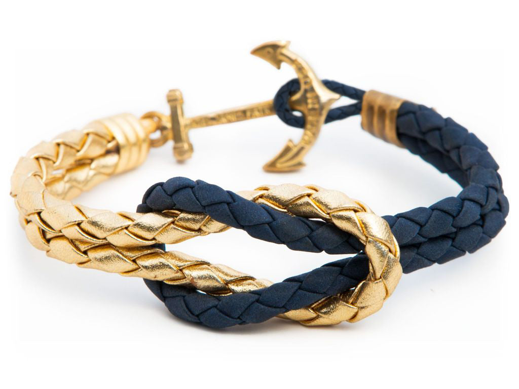 Gold Navy - Kiel James Patrick Anchor Bracelet Made in the USA