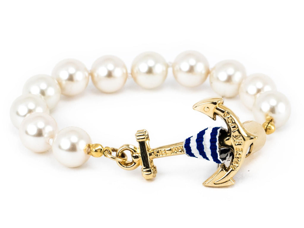 Gold Pearl Sail - Kiel James Patrick Anchor Bracelet Made in the USA