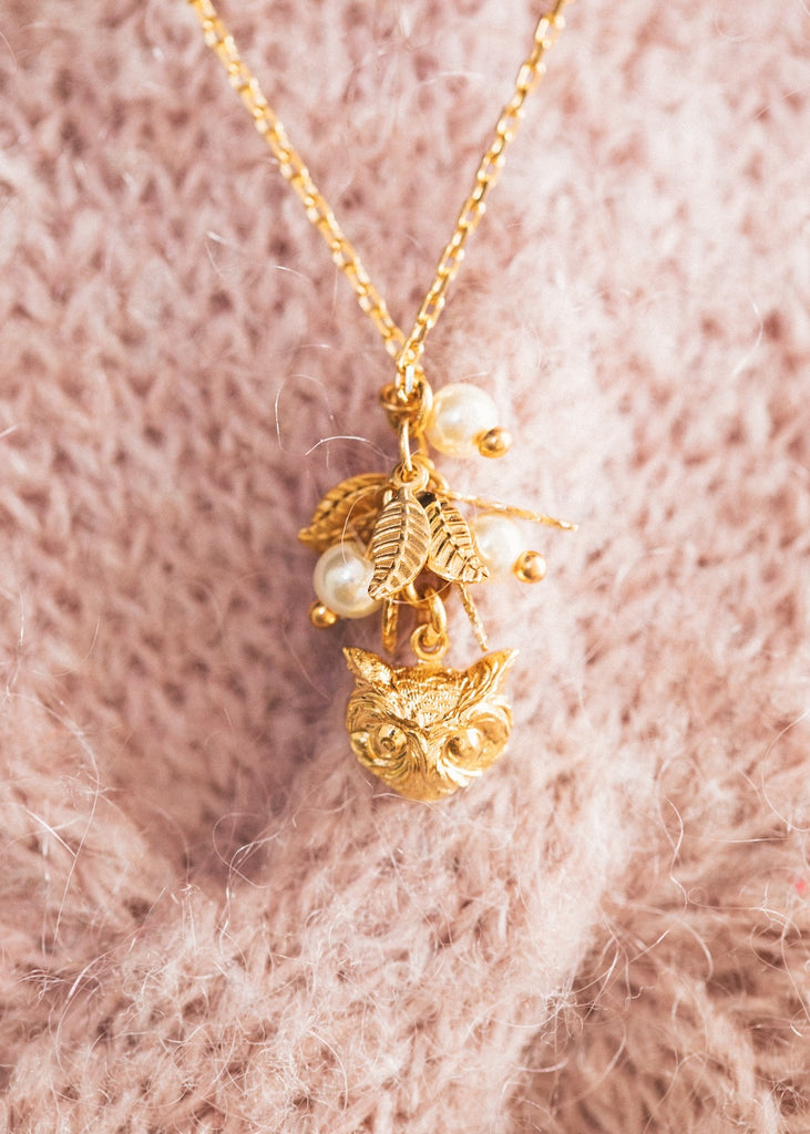 Owl Leaf With You Necklace
