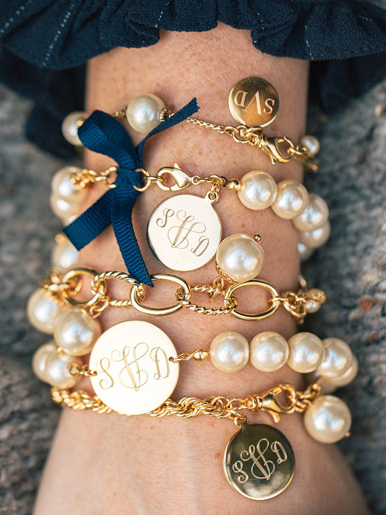 Classy Girls Wear Pearls Monogram Bracelet - Kiel James Patrick Anchor Bracelet Made in the USA