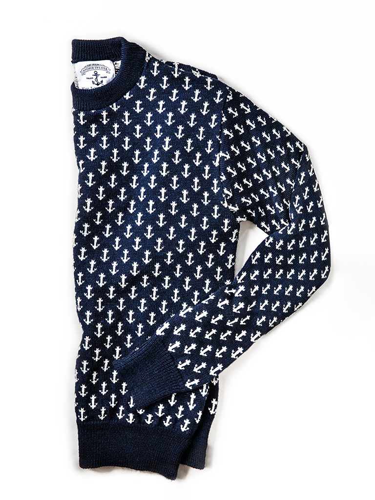 The Original Cotton Anchor Sweater Navy Kiel James Patrick