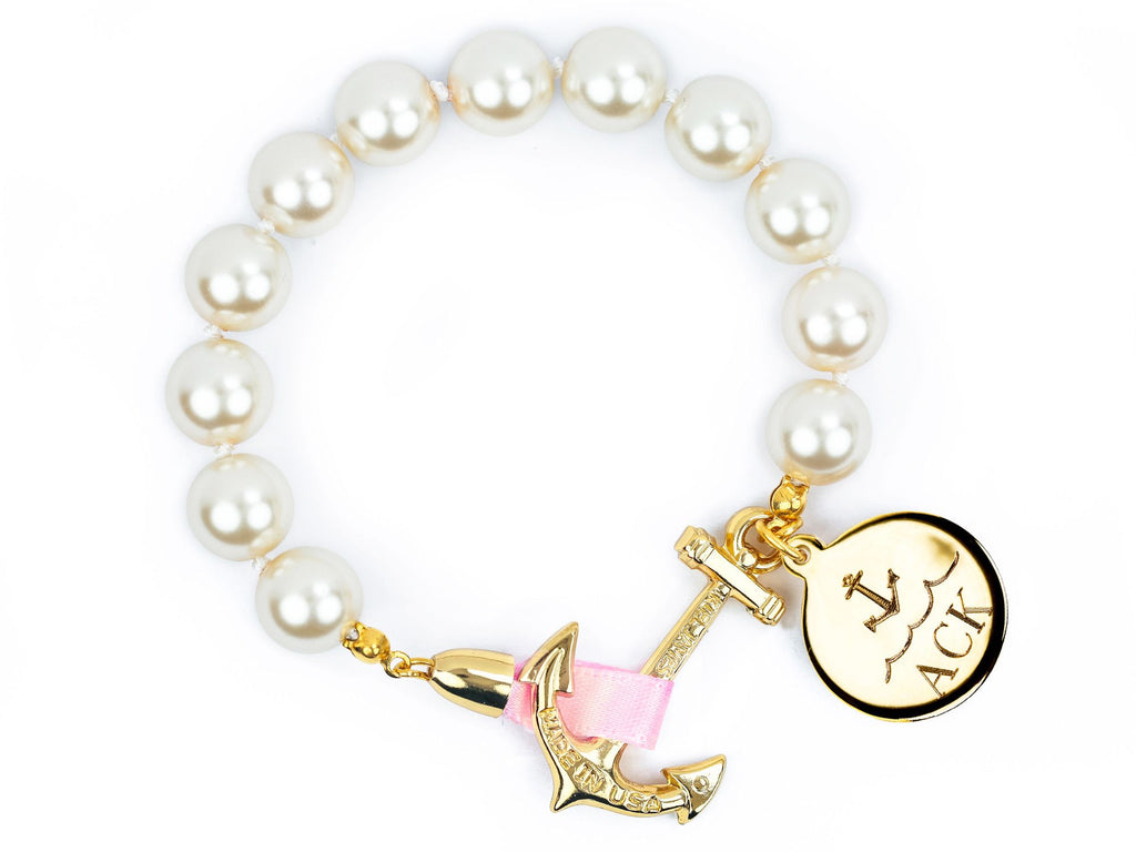 Atlantic Pearl Monogram - Kiel James Patrick Anchor Bracelet Made in the USA