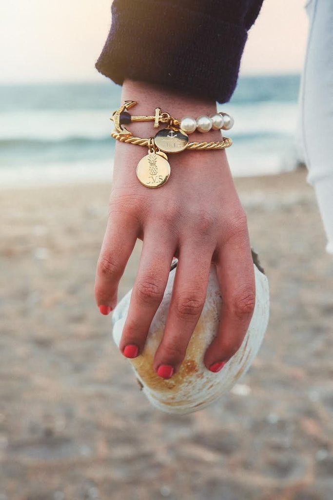 Gold Monogram Bangle