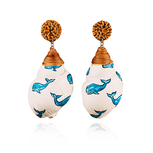 Whale Painted Shell Earrings