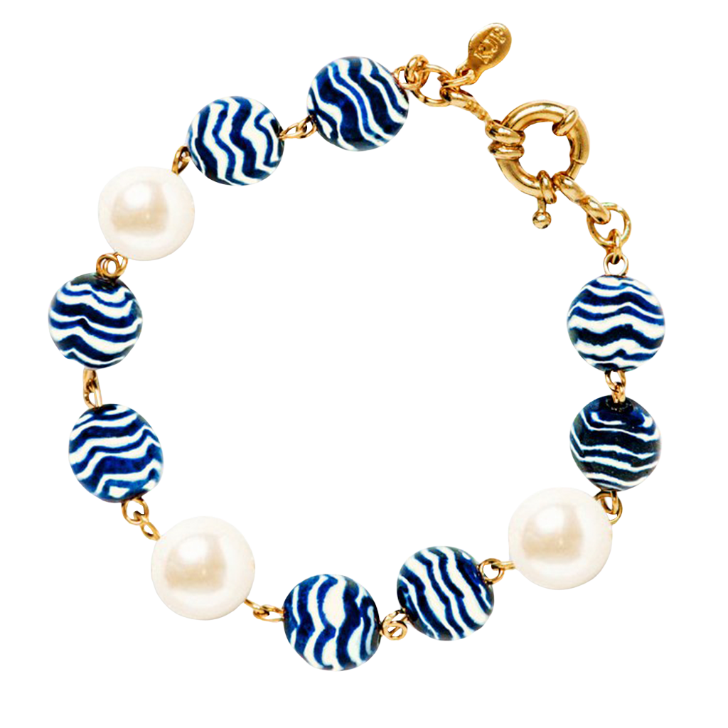 jade crystal blue navy beaded bracelet set and