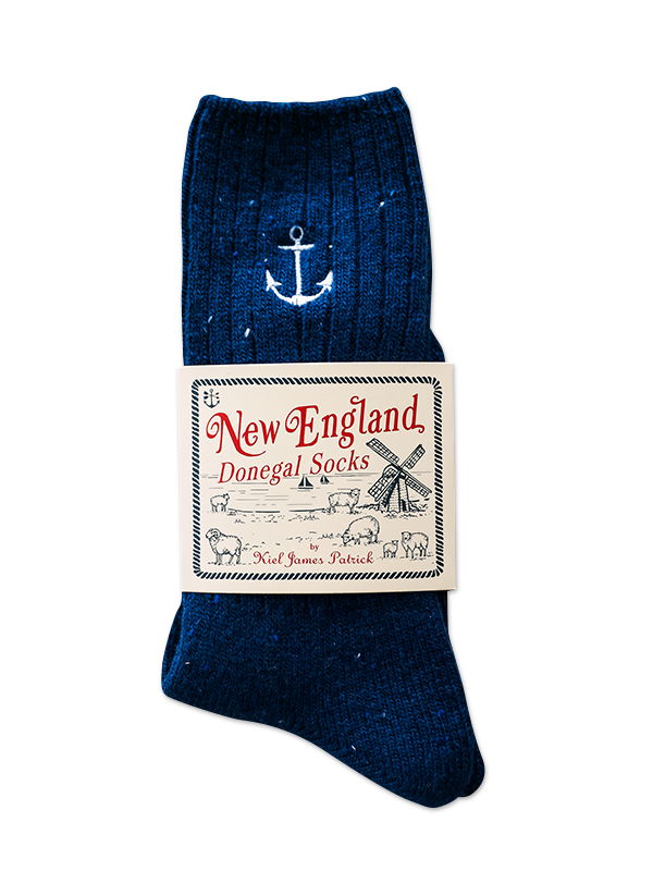 Navy Anchor Donegal Socks