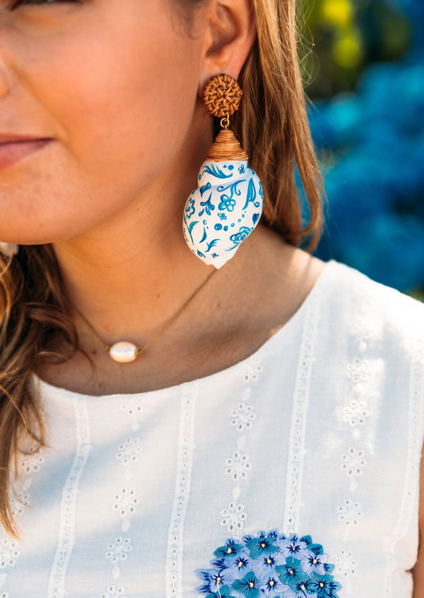 Chinoiserie Painted Shell Earrings