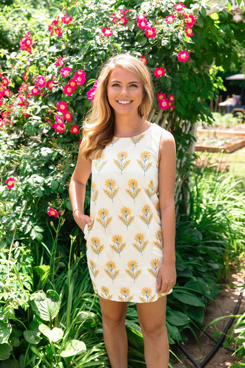 Golden Floral Shift Dress