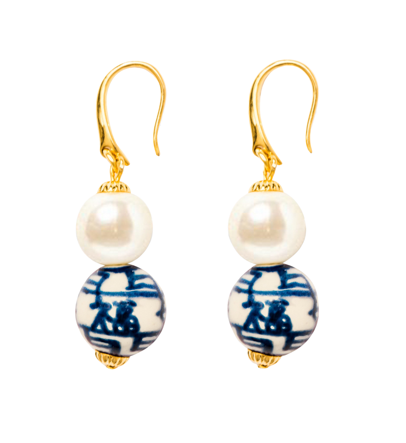 Chinoiserie Pearl Drop Earrings