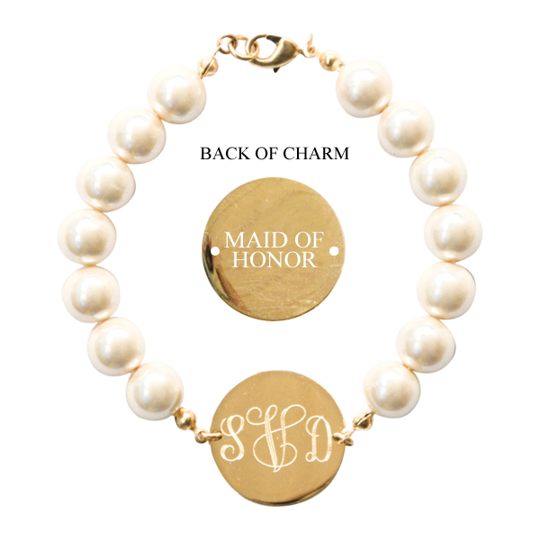 Pearl Monogram Wedding Bracelet