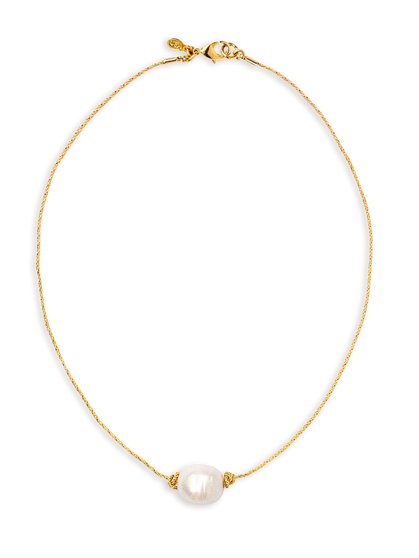 Golden Tide Pearl Knot Necklace