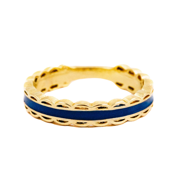 Scalloped Ring -Navy