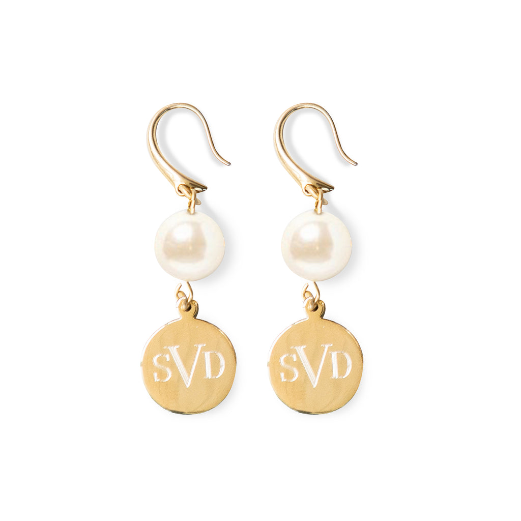 Pearl Monogram Disc Earrings