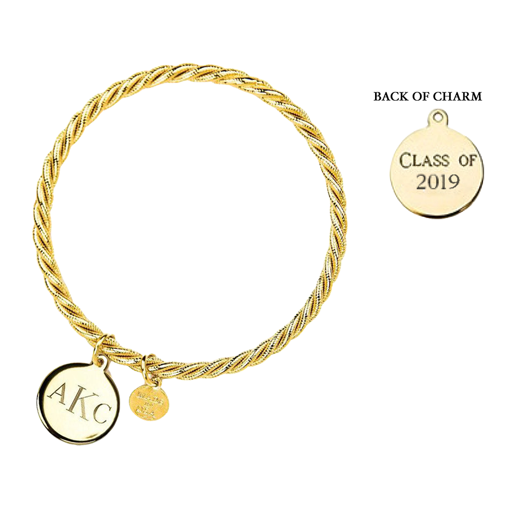 Gold Class of 2019 Monogram Bangle