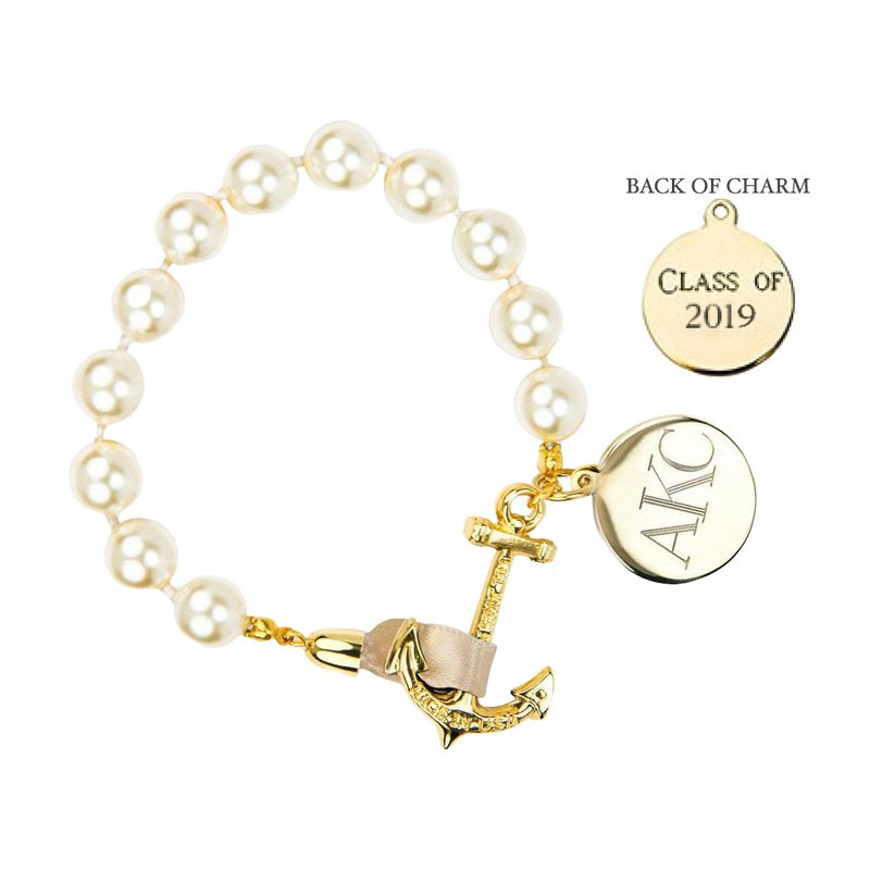 Pearls on Champagne Monogram--Class of 2019