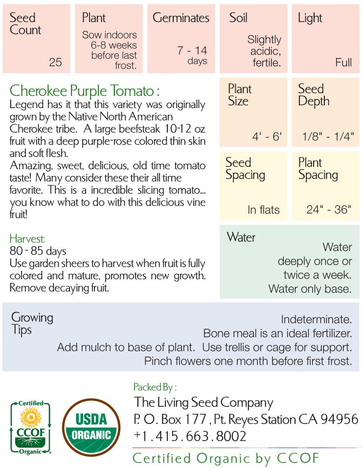 Organic Cherokee Purple Tomato Seed Packet