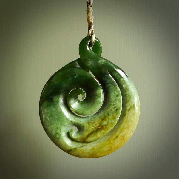New Zealand Marsden Flower Jade koru pendant