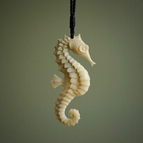 Hand carved, natural bone seahorse pendant. Made by NZ Pacific.
