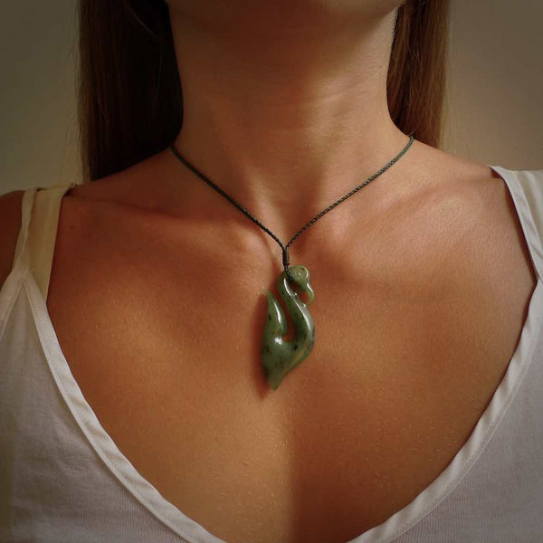 Hand carved Jade manaia pendant. Hand carved by NZ Pacific, jade jewellery for sale online.