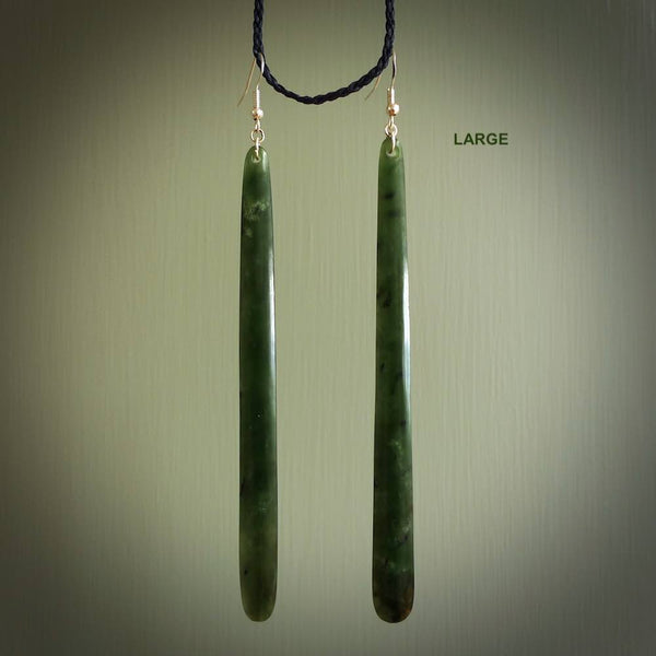 Hand carved large New Zealand flower jade drop earrings. Made by NZ Pacific from real jade. Online jewellery for sale online by NZ Pacific.